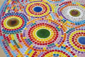 multicolored glass mosaic tile flooring