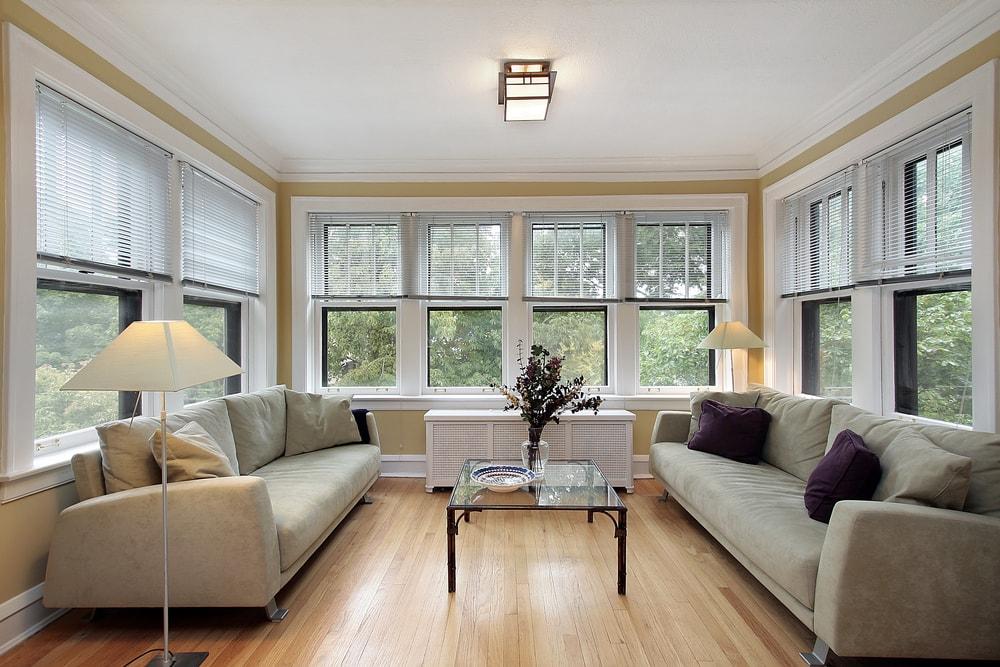 blonde hardwood floors in an open-concept living space